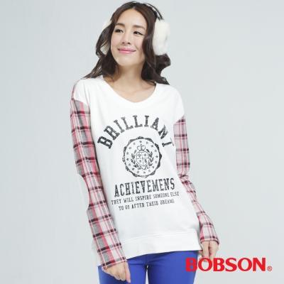 BOBSON-女款印圖-配格子布上衣