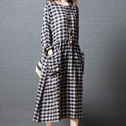 日系-棉麻 格子口袋連身裙
