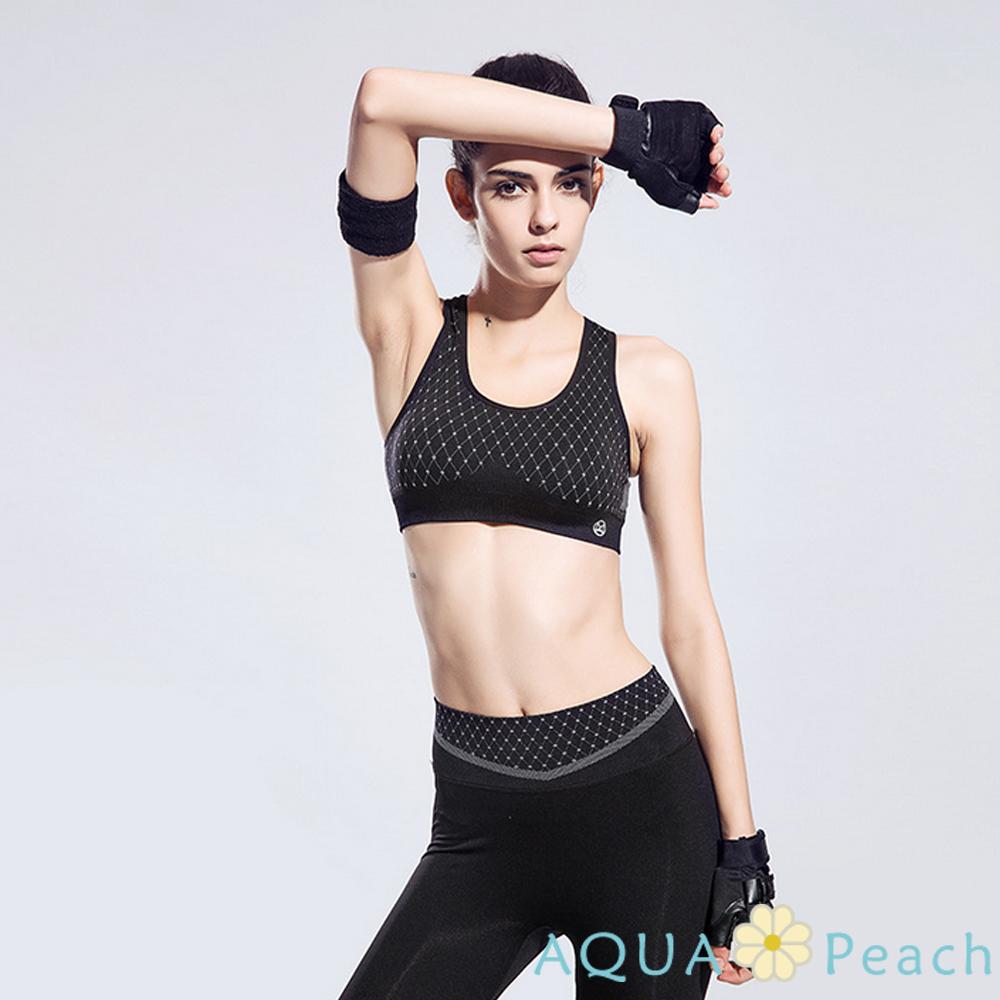 運動內衣 點線交錯托胸防震排汗背心 (黑灰色)-AQUA Peach