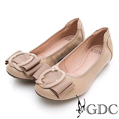 GDC-真皮知性歐風扣環霧面質感平底包鞋-可可色