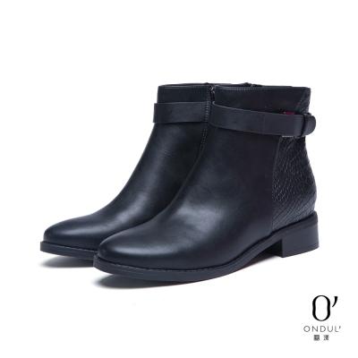 達芙妮x高圓圓-圓漾系列-短靴-蛇紋拼接皮帶扣短靴-黑