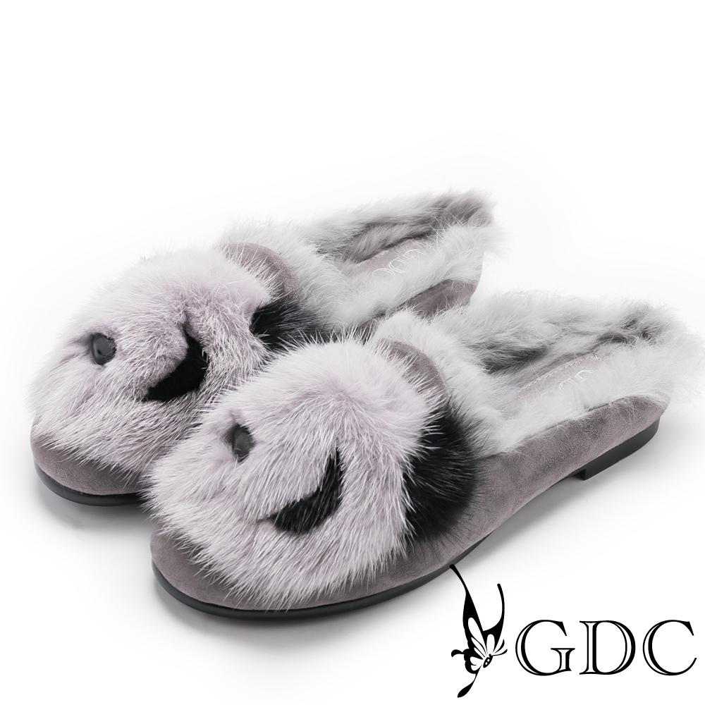 GDC-冬天必備超Q暖暖熊貓拖鞋-灰色