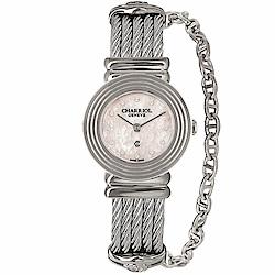 CHARRIOL夏利豪ST-TROPEZ 同心圓鎖鍊腕錶-粉紅貝面25mm