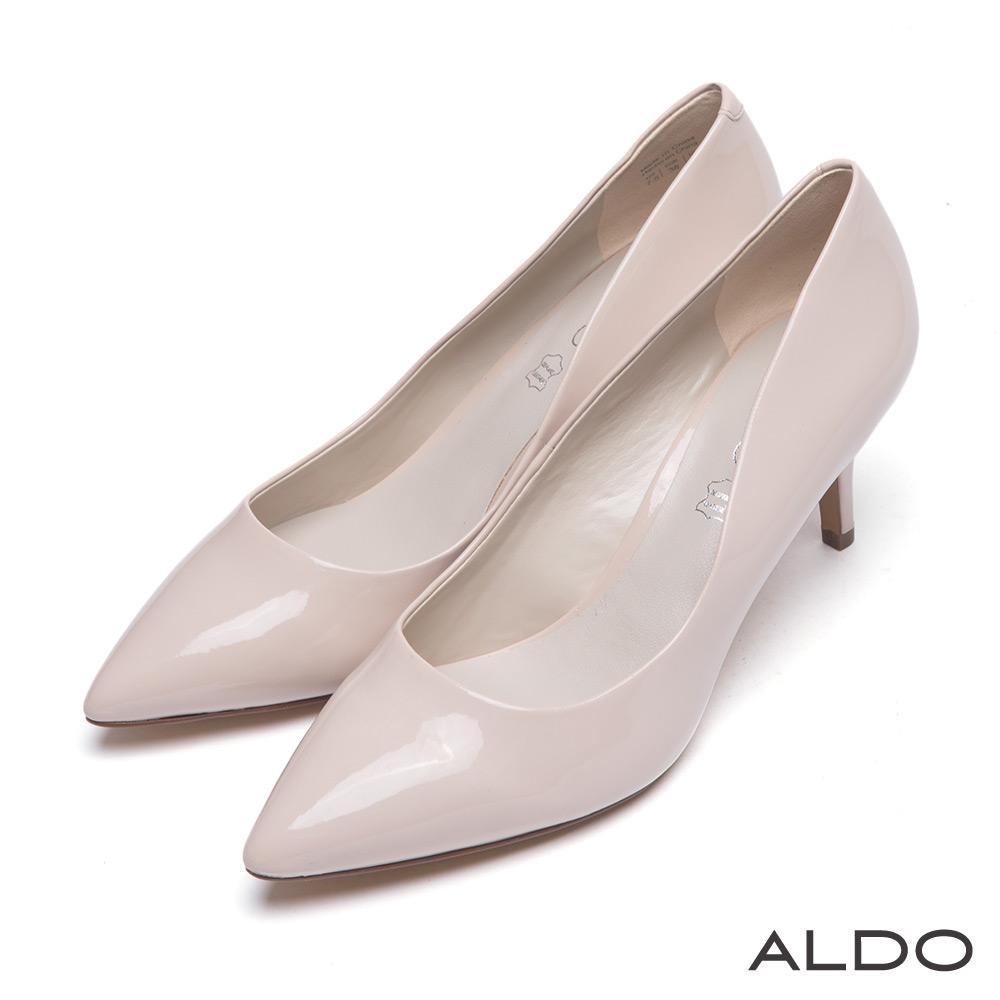 ALDO 優雅女郎霧面復古尖頭真皮跟鞋~優雅裸杏