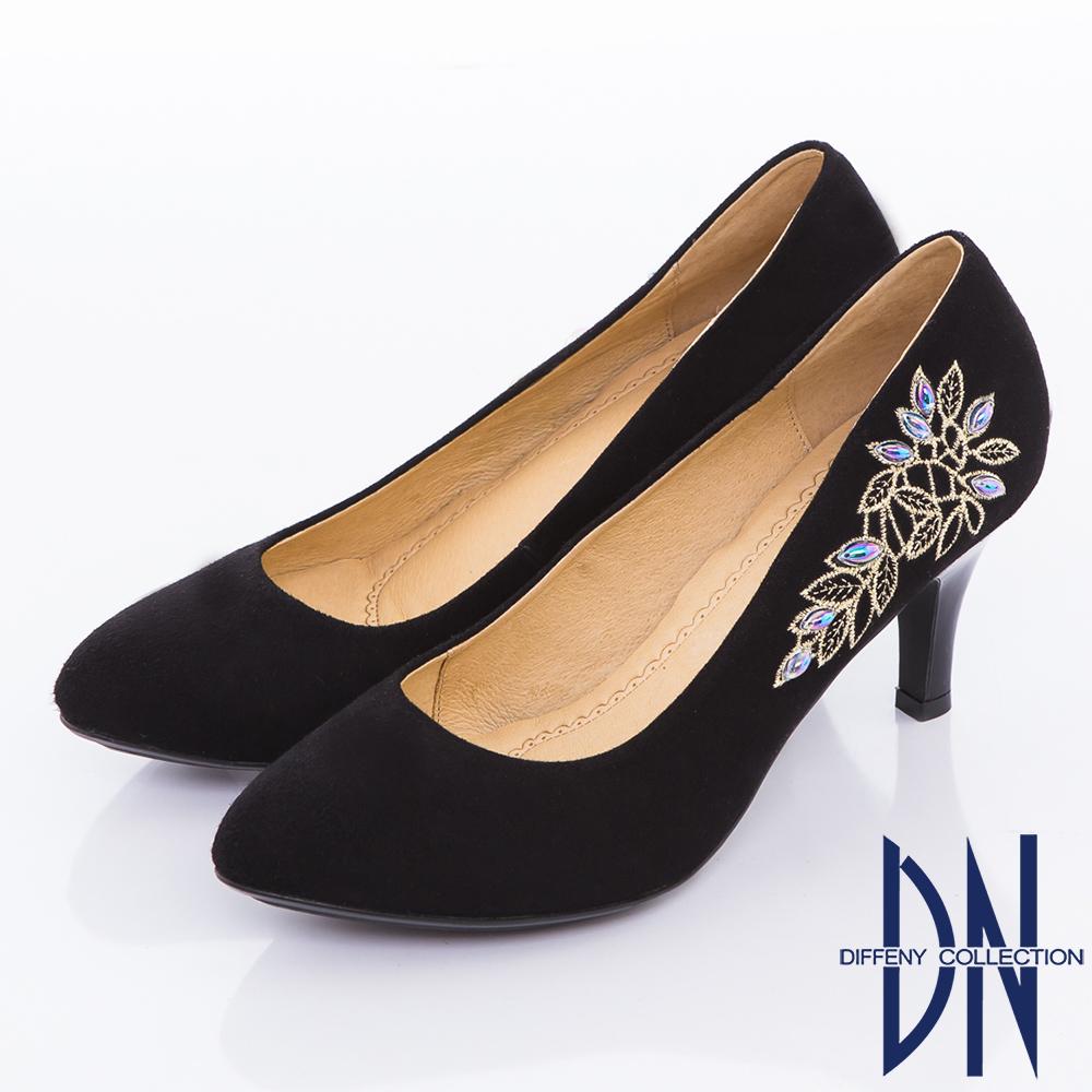 DN 古典優雅 中國風羊麂皮小尖頭高跟鞋-黑