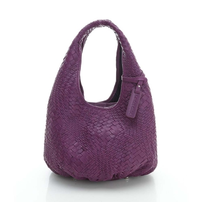 LouiseC. 羊皮手工編織水滴肩背包(小款) - 紫色 LC4763-10