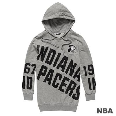 NBA-印第安納溜馬隊滿版印花連帽長袖T恤-麻灰-女