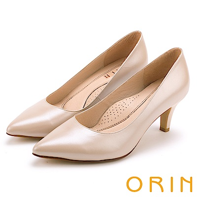 ORIN 典雅名媛 簡約剪裁牛皮素面尖頭高跟鞋-膚色
