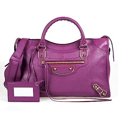 BALENCIAGA Metallic Edge City 金屬飾邊羊皮兩用機車包(莓紫)