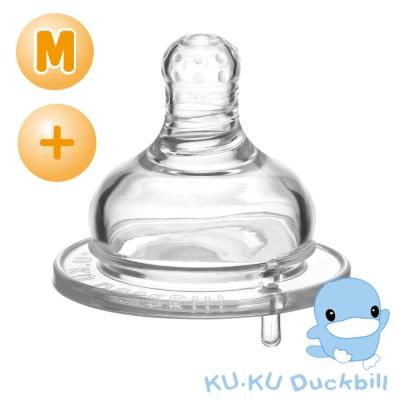 任選-KU.KU酷咕鴨 防脹氣母乳型奶嘴-寬口十字M*2個(適0-3M)
