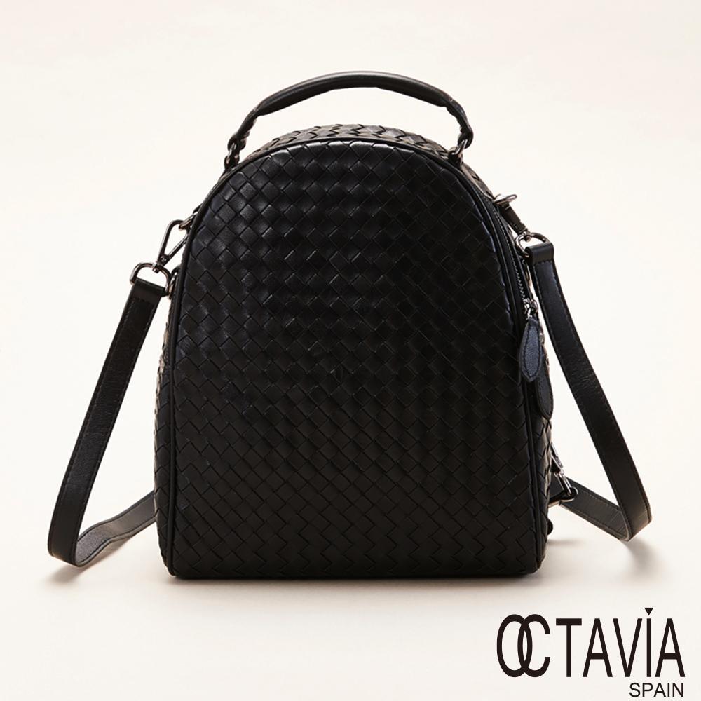 OCTAVIA 8真皮 -  古典編織系列 硬式半圓手拿肩背後背包 - 意識黑