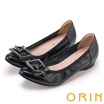 ORIN 氣質甜美風 星星飾釦牛皮尖頭低跟鞋-黑色