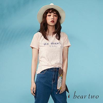 beartwo 網路獨家-睫毛蕾絲微透文字T恤(二色)
