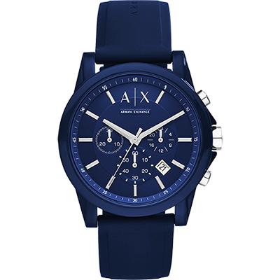 A│X Armani Exchange 時尚玩家計時腕錶-藍/44mm