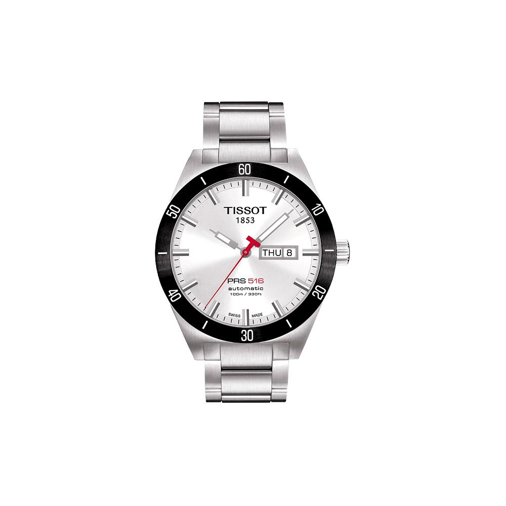 TISSOT PRS516經典機械鋼帶腕錶-銀42mm
