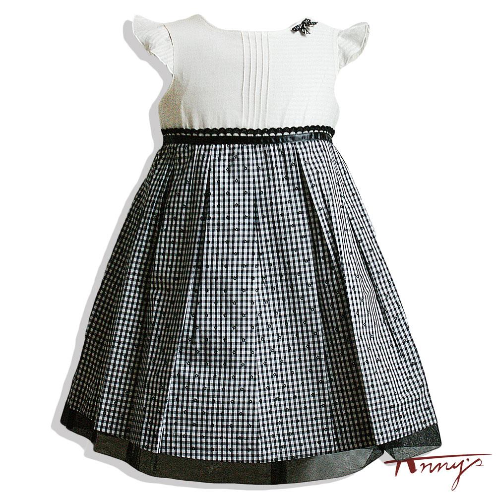 氣質格紋小花裙襬洋裝*4147黑