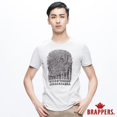 BRAPPERS BOYFRIEND JEANS男款 指紋植絨短袖基本圓領上衣-灰