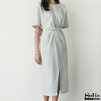 洋裝 條紋腰圍綁帶連身洋裝 薄荷綠-HeHa