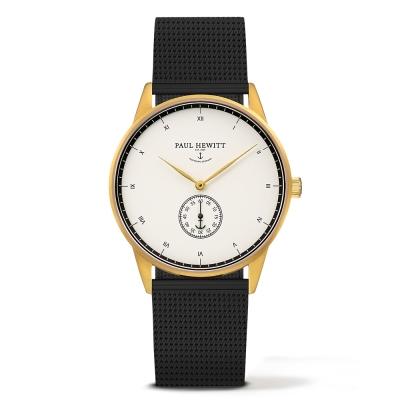 PAUL HEWITT Signature Line黑色錶帶 單眼白錶盤 金錶框38mm