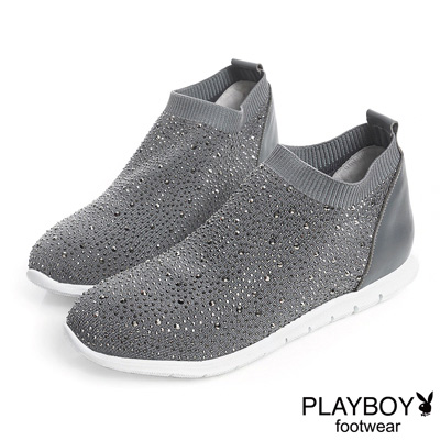PLAYBOY 浪漫銀河 美鑽襪套式休閒鞋-灰(女)