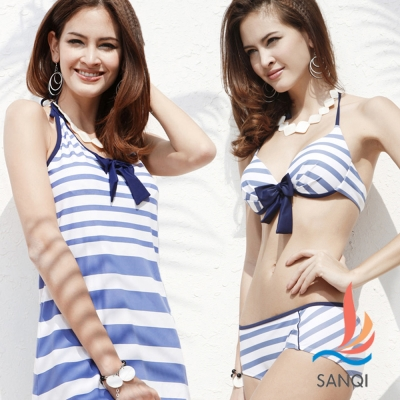 SANQI三奇 盛夏好感 三件式鋼圈比基尼泳裝 泳衣(藍M~XL)