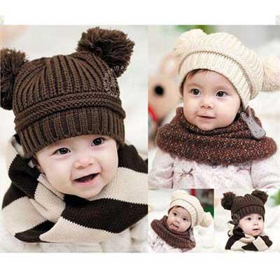 韓版-超可愛寶寶球球保暖帽