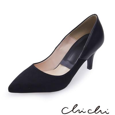 Chichi 韓國直送 正韓拼接尖頭高跟鞋*黑色