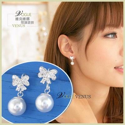 【維克維娜】潔白純淨。甜美水鑽白蝴蝶結墜珍珠 925純銀耳環