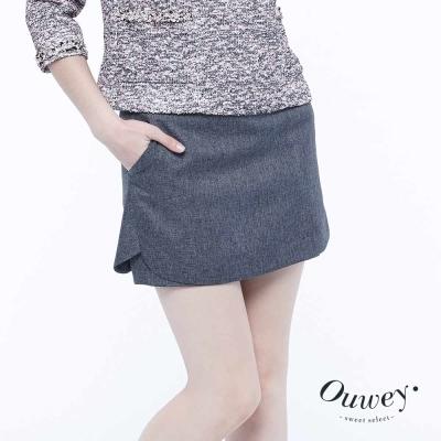 OUWEY歐薇-簡約時尚短褲裙-灰