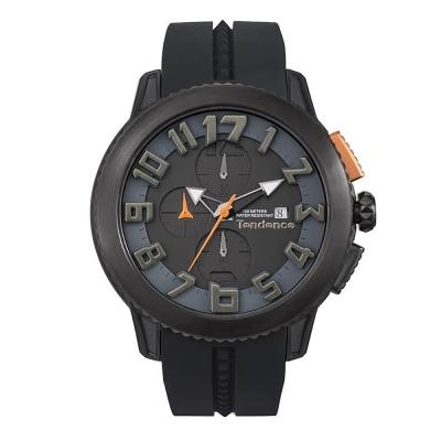 Tendence 天勢錶-圓形系列計時碼表款-黑/45mm