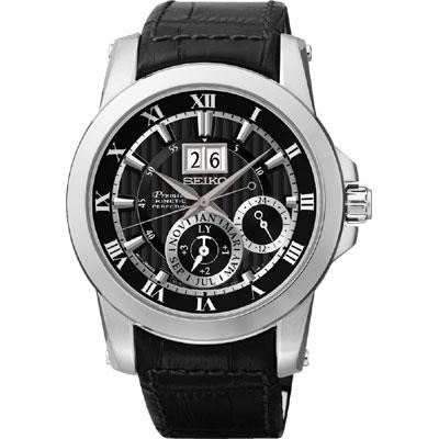 SEIKO PREMIER 人動電能萬年曆腕錶(SNP093J2)-黑/41mm