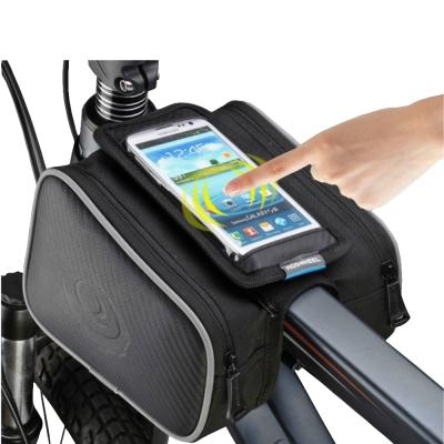 PUSH!自行車用品自行車前置物袋手機袋上管袋車前包工具袋可裝5.7吋屏手機