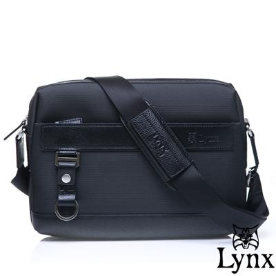 Lynx - 山貓經典極簡風格橫式真皮側背包-小-經典黑