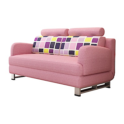 AT HOME-凱蒂粉紅雙人多功能沙發床附靠枕(145*79*85cm)
