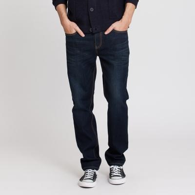 Hang Ten - 男裝 - 簡約刷色直筒牛仔褲 - 深藍