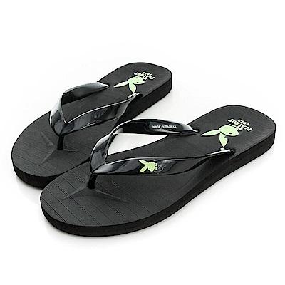 PLAYBOY 個性狂潮~簡約設計夾腳拖鞋-黑(男)