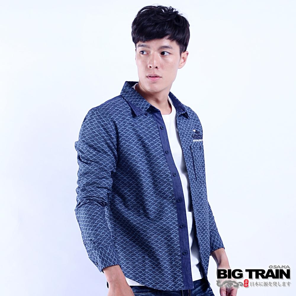 BIG TRAIN 日式和風長袖襯衫-男-深藍