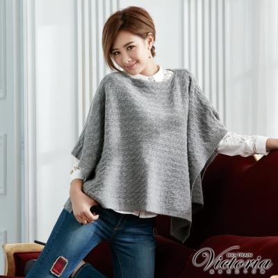 Victoria 斗篷式寬鬆線衫-女-黑混紗