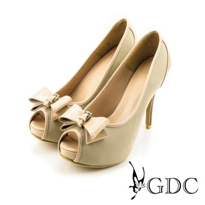 GDC-亮面蝴蝶結牛仔魚口高跟鞋-米色
