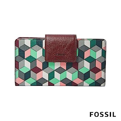 FOSSIL EMMA防潑水真皮RFID搭扣中夾-復古格紋(限量款)