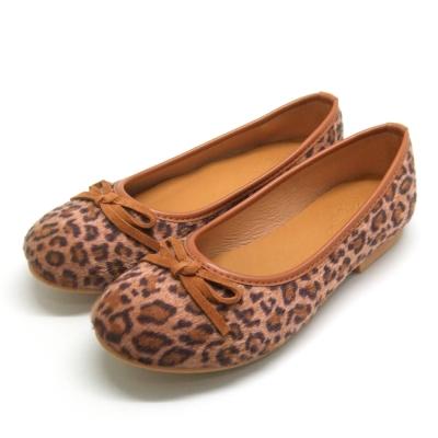 天使童鞋-D377 秋冬絕美豹紋親子鞋(大童)-咖啡紋
