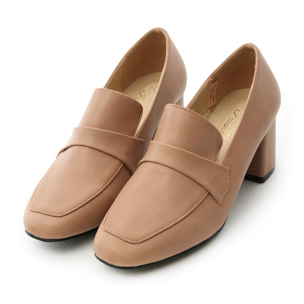 D+AF 紳士典雅.霧面皮革方頭粗跟紳士鞋*棕杏