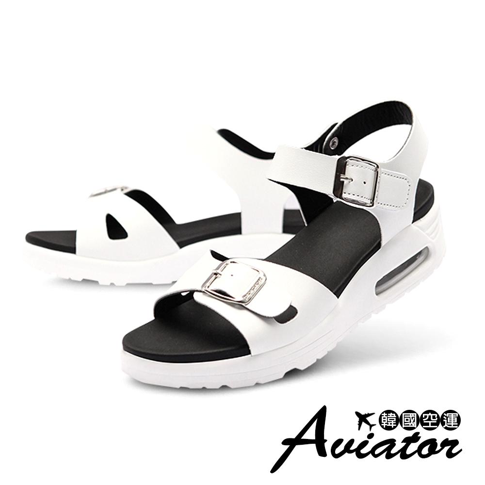 Aviator*韓國空運-Paperplane-正韓製質感皮革氣墊寬帶涼鞋-白