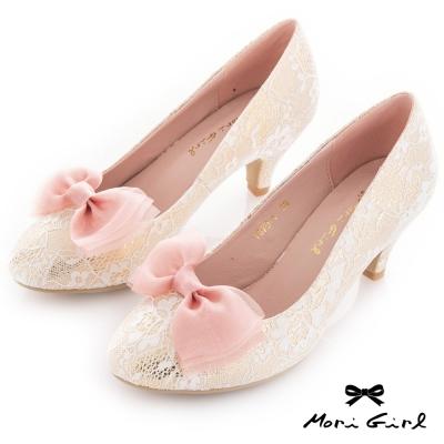 Mori girl 可拆式蝴蝶結蕾絲中跟婚鞋 淺金
