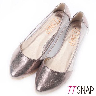 TTSNAP內增高-MIT素面小尖頭透膚網紗平底鞋 錫