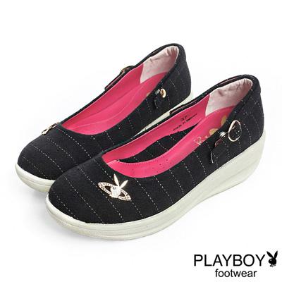 PLAYBOY 高雅品味 GOPLAY條紋厚底娃娃鞋-黑(女)