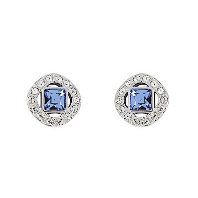 SWAROVSKI 施華洛世奇 方形藍白水晶造型銀色耳環