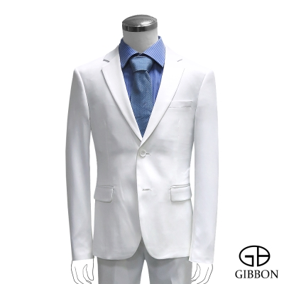 GIBBON 都會時尚修身成套西裝/平口褲‧白色