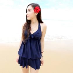 深藍顯胸遮肚連身式泳衣比基尼(M-XL)  Biki比基尼妮
