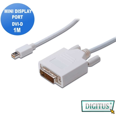 Mini DisplayPort轉 DVI-D (24+1)互轉線 *1公尺圓線(公-公)